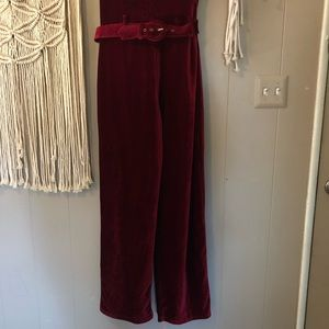 Vintage Pants - Newport News burgundy velvet cord jumpsuit sz L